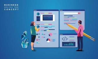 Concept of Data Analysis for website and mobile website. Data analytics for company marketing solutions or financial performance. Budget accounting or statistics concept. flat design illustration vector