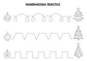 Tracing lines with black and white Christmas balls. Writing practice. vector
