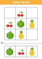 Sudoku game for kids with cartoon fruits and berries. vector