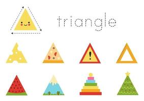 Learning basic geometric form for children. Cute triangle. vector