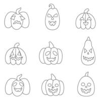 Set of black and white Halloween pumpkins. Vector illustrations.