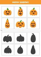 Find shadows of cute Halloween pumpkins. Cards for kids. vector