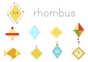 Learning basic geometric form for children. Cute rhombus. vector