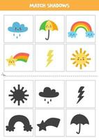 Find shadows of cute weather phenomena. Cards for kids. vector