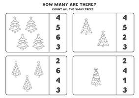 Counting game with Christmas trees. Math worksheet. vector