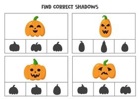 Find correct shadow of Halloween pumpkins. Printable clip card games for children. vector