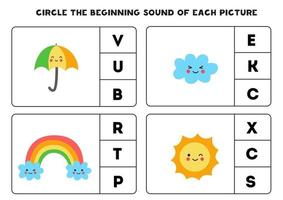 Worksheet for kids. Find the beginning sound. Cute weather pictures. vector