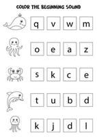Learning English language for children. Color the beginning sound. vector