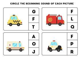Worksheet for kids. Find the beginning sound. Cartoon transportation means. vector