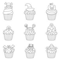 Set of black and white Halloween cupcakes. Vector illustrations.