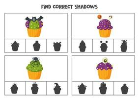 Find correct shadow of Halloween cupcakes. Printable clip card games for children. vector