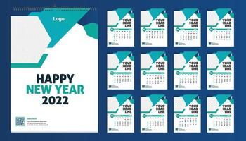 Monthly wall calendar template design for 2022 year. Week Starts on Sunday. Planner diary with Place for Photo. vector