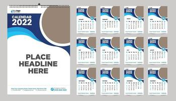 Free monthly wall calendar template design for 2022, 2023, 2024, 2025, 2026, 2026 year. Week starts on Sunday. Planner diary with Place for photo. vector