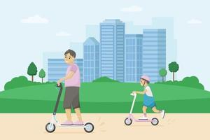 Smiling man with a child rides kick scooters around the city. Vector urban illustration. Urban eco friendly transport.