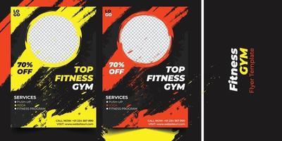 Business fitness gym brush effect flyer design vector