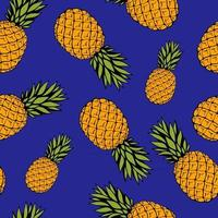 Seamless pattern with hand drawn fruit elements, pineapple. Vegetarian wallpaper. For design packaging, textile, background, design postcards and posters. vector