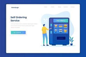 Self ordering food service illustration landing page vector