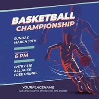 basketball championship retro design template vector