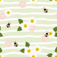 Summer seamless pattern with chamomiles  and ladybugs on striped background vector