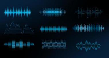 HUD waves big set. Console panel. Electronic radio signal. Equalizer. Vector illustration.