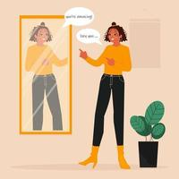 Girl practicing positive self talk for self care vector