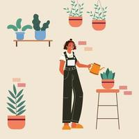 Girl taking care of plants at home. Plant care for mental health therapy. vector
