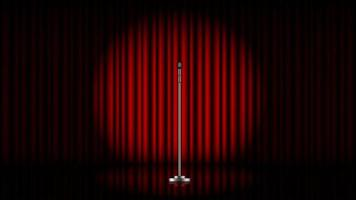 Microphone with stand on stage with red curtain and spot light, vector illustration