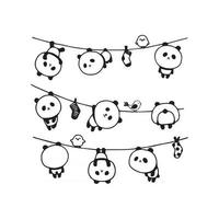 Funny Cute Pandas Hanging Out vector