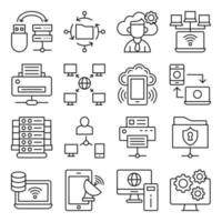 Pack of Server Network Linear Icons vector