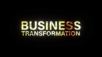 BUSINESS TRANSFORMATION gold light text glitch effect loop video