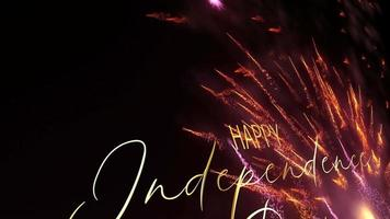Happy Independence Day with Fireworks title intro loop video