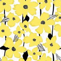 Yellow flowers and leaves vector seamless pattern. Summer simple pattern.