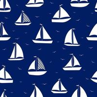 Yacht, sailboats with seagull seamless pattern. Stock vector illustration.
