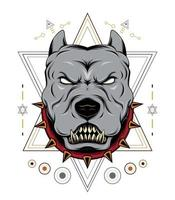 SIMPLE AND MODERN ANGRY PITBULL HEAD VECTOR TEMPLATE