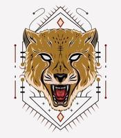 Angry cheetah vector art. cheetah illustration