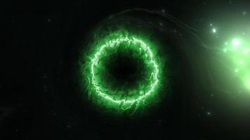 Loop blackhole glow green plasma energy gas cloud video