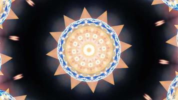Kaleidoscopic mandala sun star shape morphing rotation loop video