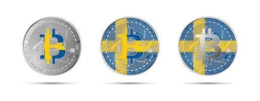 tres criptomonedas bitcoin con la bandera de suecia. dinero del futuro. Ilustración de vector de criptomoneda moderna