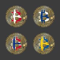 cuatro iconos de bitcoin dorados con banderas de dinamarca, finlandia, noruega y suecia. símbolo de la tecnología de criptomonedas. Vector iconos de dinero digital aislados sobre fondo gris
