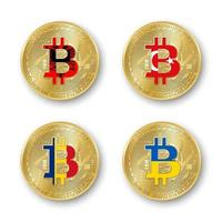 Four golden Bitcoin coins with flags of Albania, Romania, Turkey and Ukraine. Vector cryptocurrency icons isolated on white background. Blockchain technology symbol