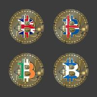 Four golden Bitcoin icons with flags of Britain, Iceland, Ireland and Scotland. Cryptocurrency technology symbol. Vector digital money icons isolated on grey background