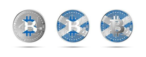 Three Bitcoin crypto coins with the flag of Scotland. Money of the future. Modern cryptocurrency vector illustration