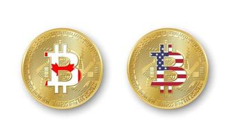 Four golden Bitcoin coins with flags of Canada and America. Vector cryptocurrency icons isolated on white background. Blockchain technology symbol