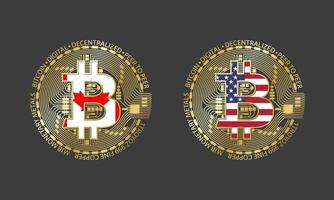Four golden Bitcoin icons with flags of Canada and America. Cryptocurrency technology symbol. Vector digital money icons isolated on grey background