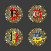 Four golden Bitcoin icons with flags of Albania, Romania, Turkey and Ukraine. Cryptocurrency technology symbol. Vector digital money icons isolated on grey background