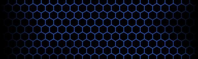 Dark modern technology banner with blue hexagon mesh. Abstract metal geometric texture header. Simple vector illustration background