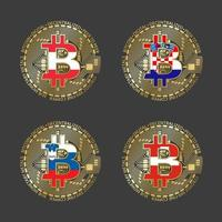 Four golden Bitcoin icons with flags of Austria, Croatia, Slovenia and Switzerland. Cryptocurrency technology symbol. Vector digital money icons isolated on grey background