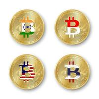 Four golden Bitcoin coins with flags of India, Indonesia, Malaysia and Thailand. Vector cryptocurrency icons isolated on white background. Blockchain technology symbol
