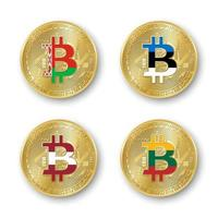 Four golden Bitcoin coins with flags of Belarus, Estonia, Latvia and Lithuania. Vector cryptocurrency icons isolated on white background. Blockchain technology symbol