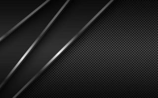 Black modern material background with diagonal silver lines and carbon fibre texture. Design for your business. Vector abstract widescreen background